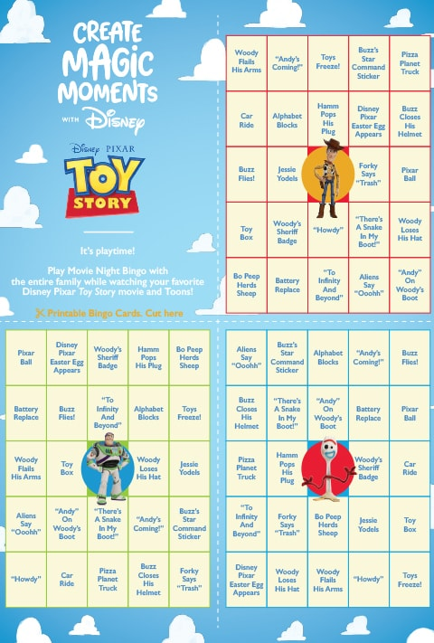 Toy Story Bingo activity sheet