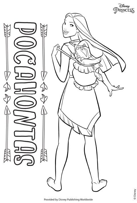 UK - Disney Princess - Pocahontas Colouring Sheet PDF