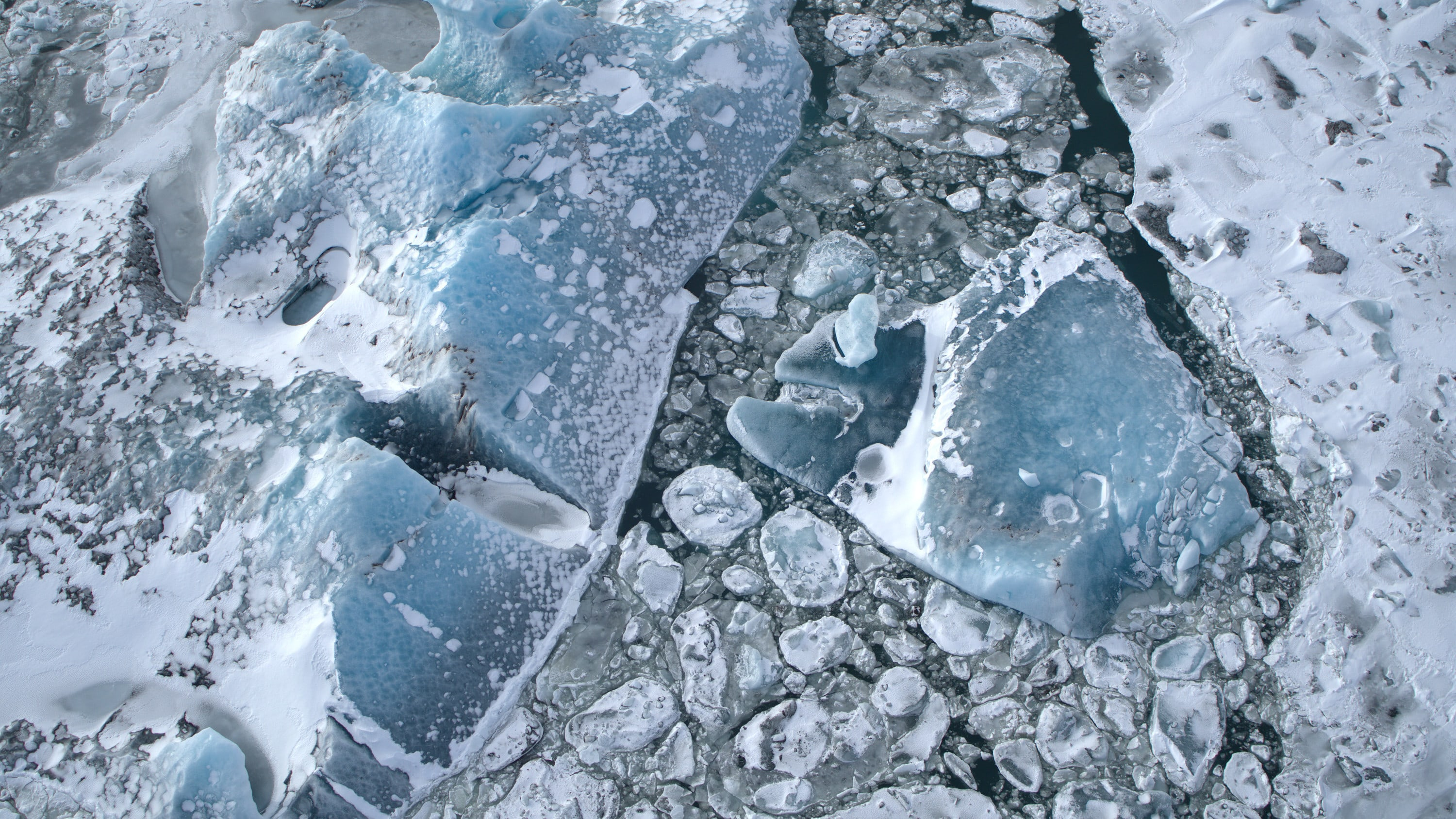 An aerial view of ice in Jökulsárlón lagoon. (National Geographic for Disney+)