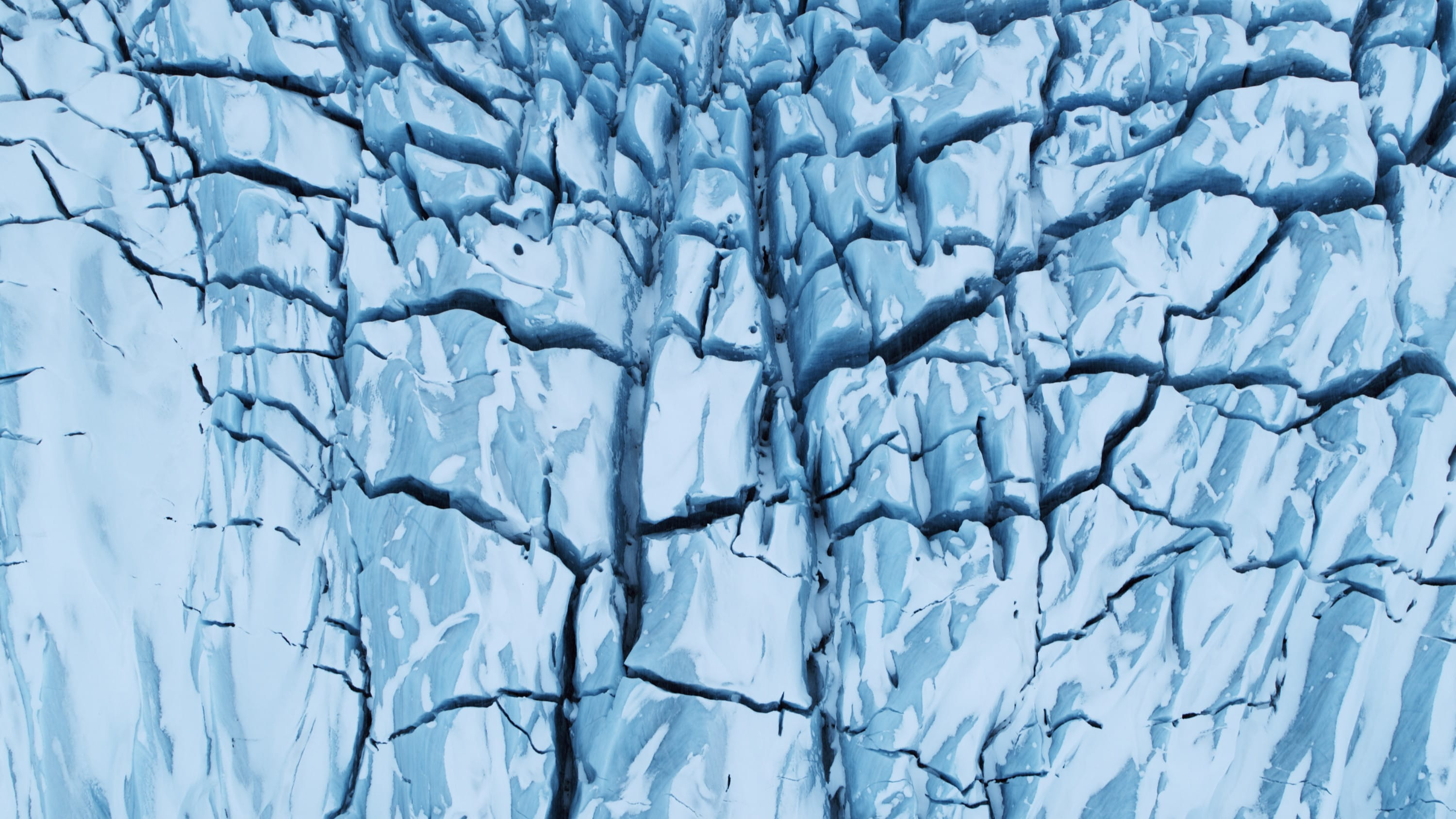Looking down onto a cracked glacier in Jökulsárlón National Park. (National Geographic for Disney+)