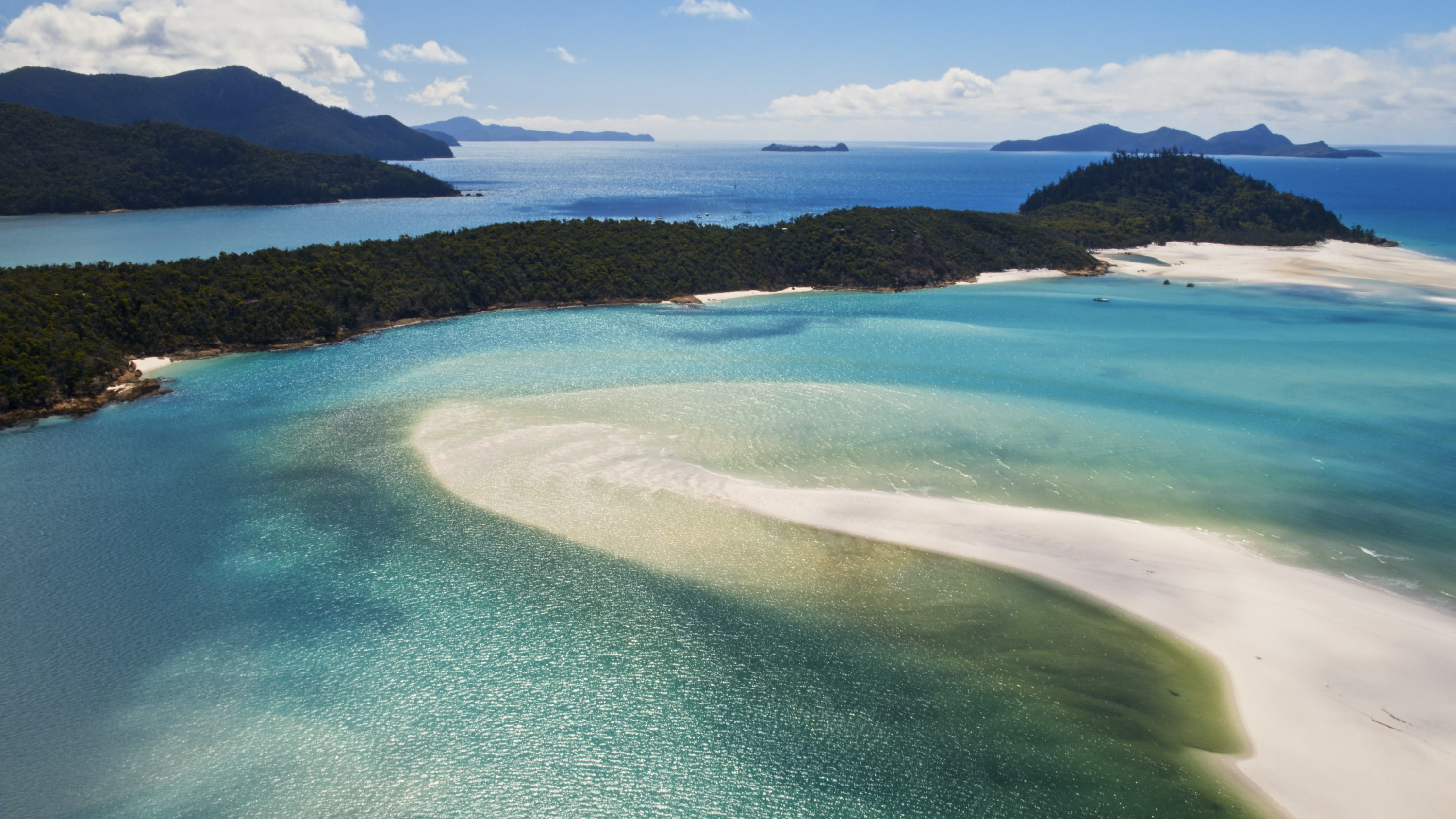 Aerial view of Whitehaven Beach. (National Geographic for Disney+)