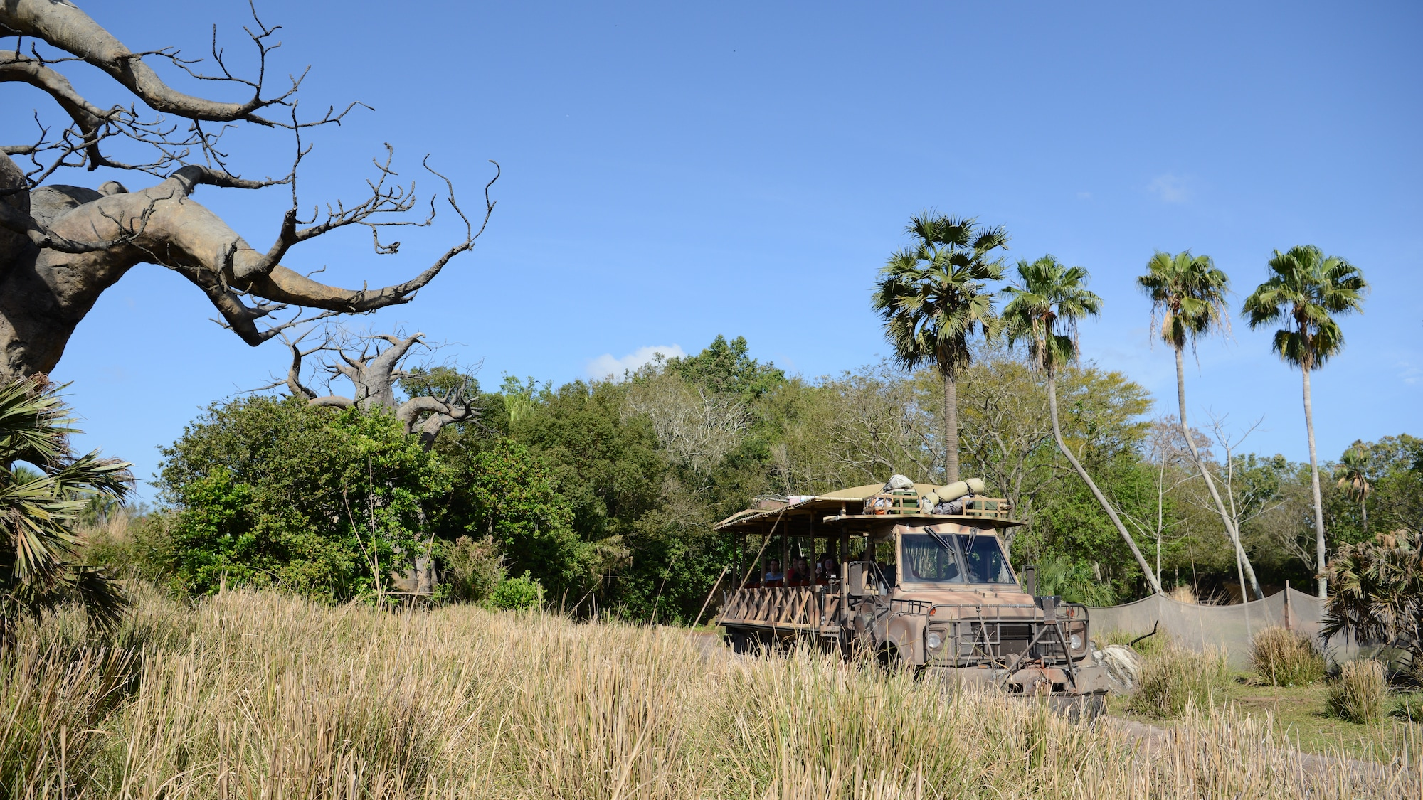 Kilimanjaro Safaris vehicle taking guests on a guided tour of the Harambe Wildlife Reserve. (National Geographic/Gene Page)
