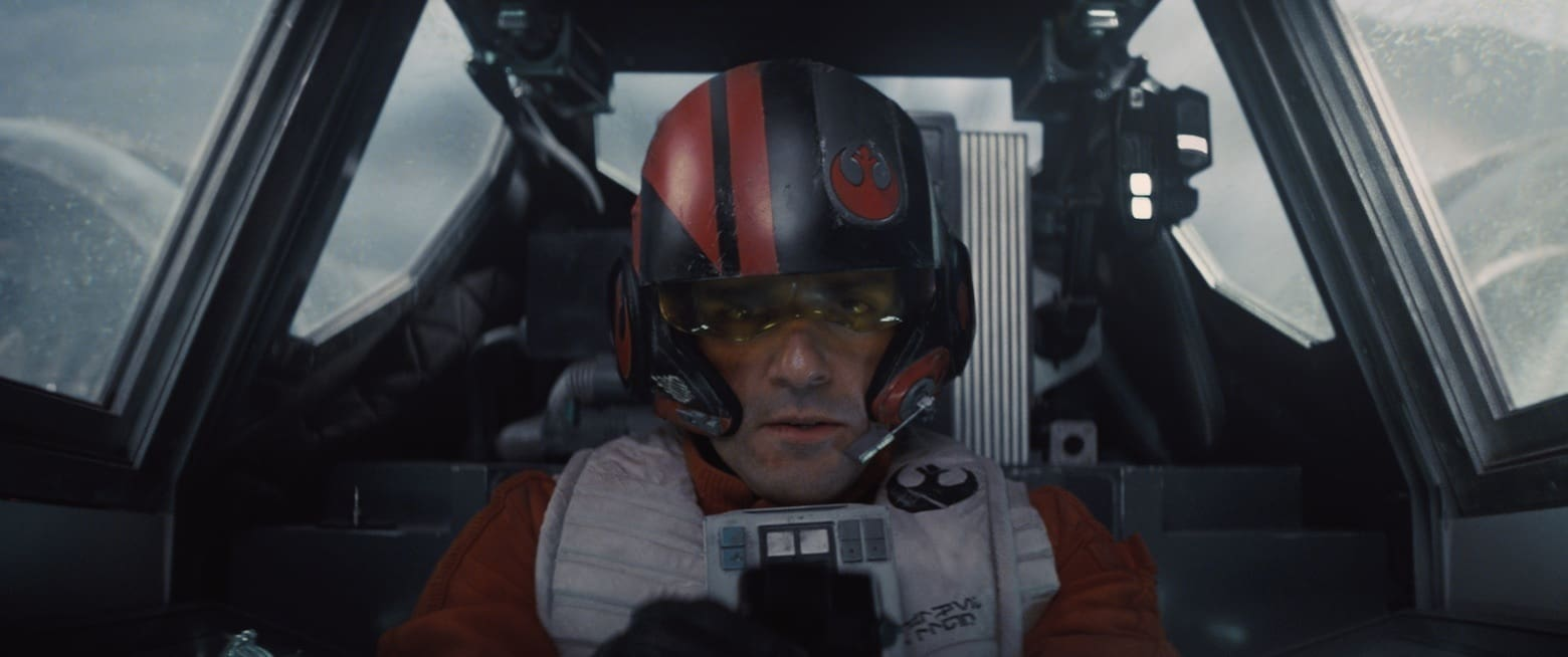 Oscar Isaac as Poe Dameron in the cockpit of his X-wing.