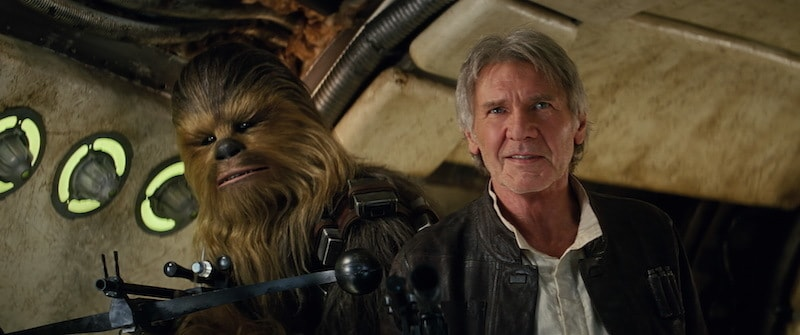 Chewbacca and Han Solo reclaiming the Millennium Falcon