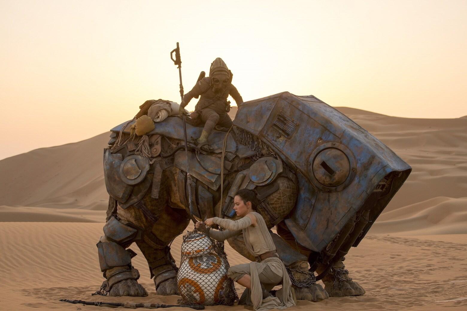 Rey readies BB-8 for transport