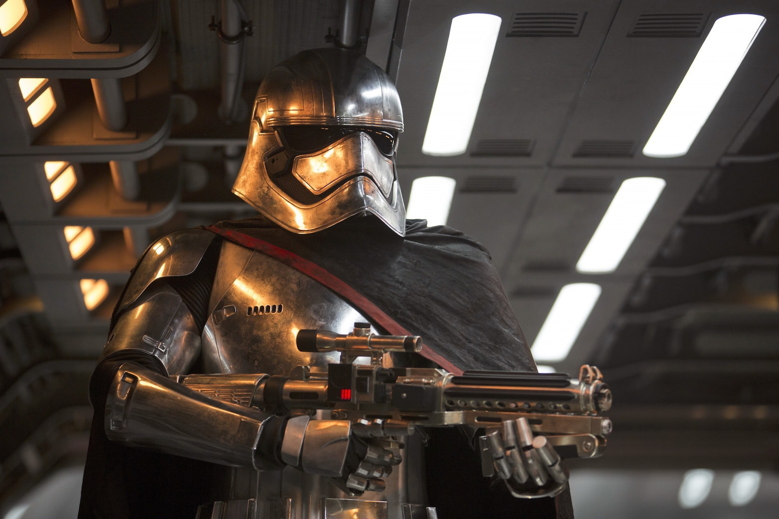 Gwendoline Christie as Captain Phasma of the First Order in chrome armor