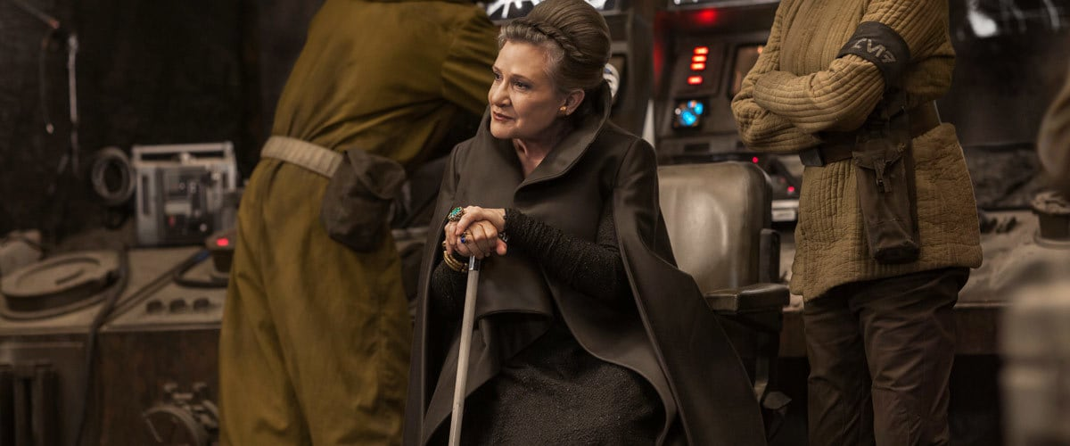 Leia Organa with the survivors of the Battle of Crait