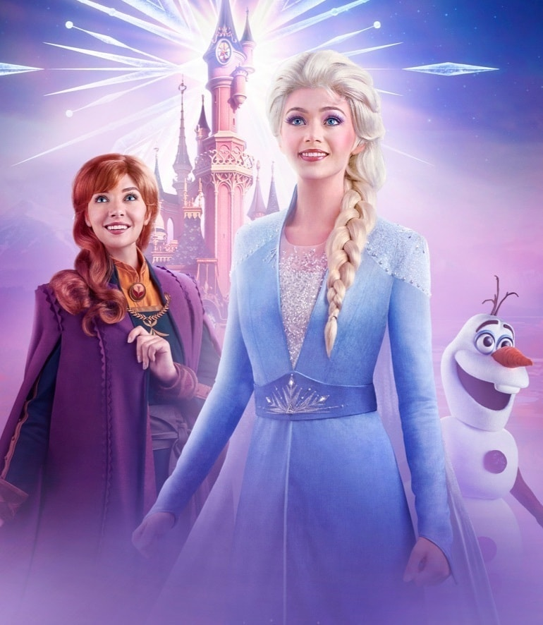 Elsa, Anna e Olaf em Frozen Celebration Disneyland® Paris