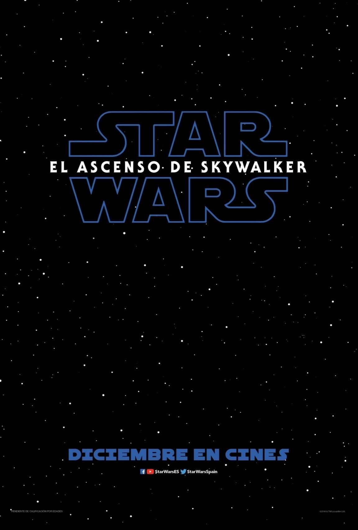 Póster de un cielo negro con estrellas blancas y el logotipo de Star Wars: El ascenso de Skywalker