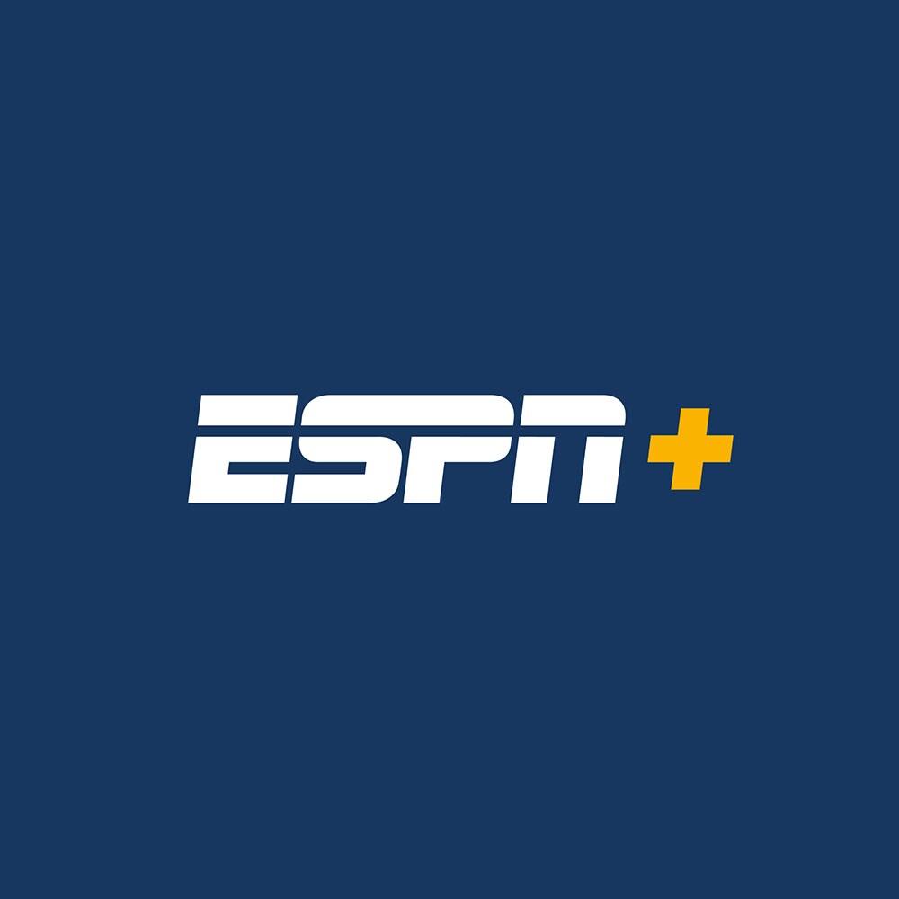 ESPN + logo on dark blue background