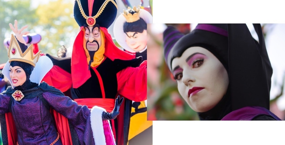 Entertainers in costume as the Evil Queen, Jafar and Maleficient