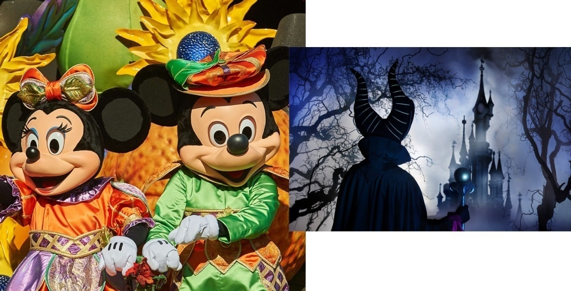 Mickey and Minnie on a parade float and Maleficent looking at the castle