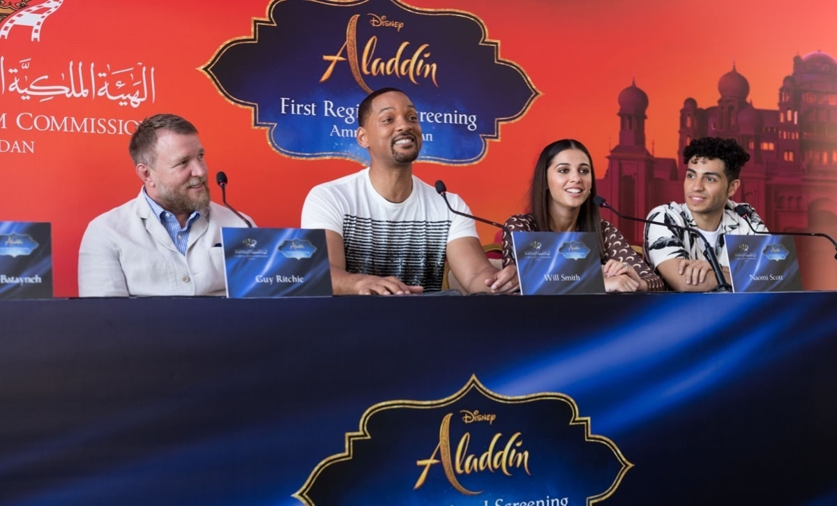 Will Smith speaking at the Aladdin press conference in Jordan.