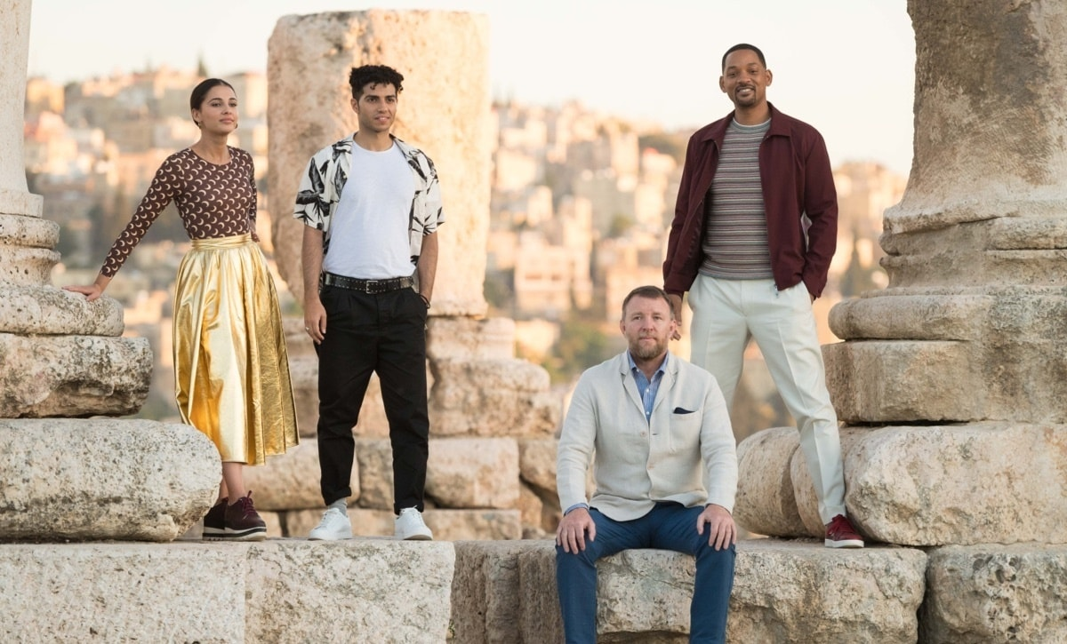 Director Guy Ritchie and the cast of Aladdin photographed in Jordan.