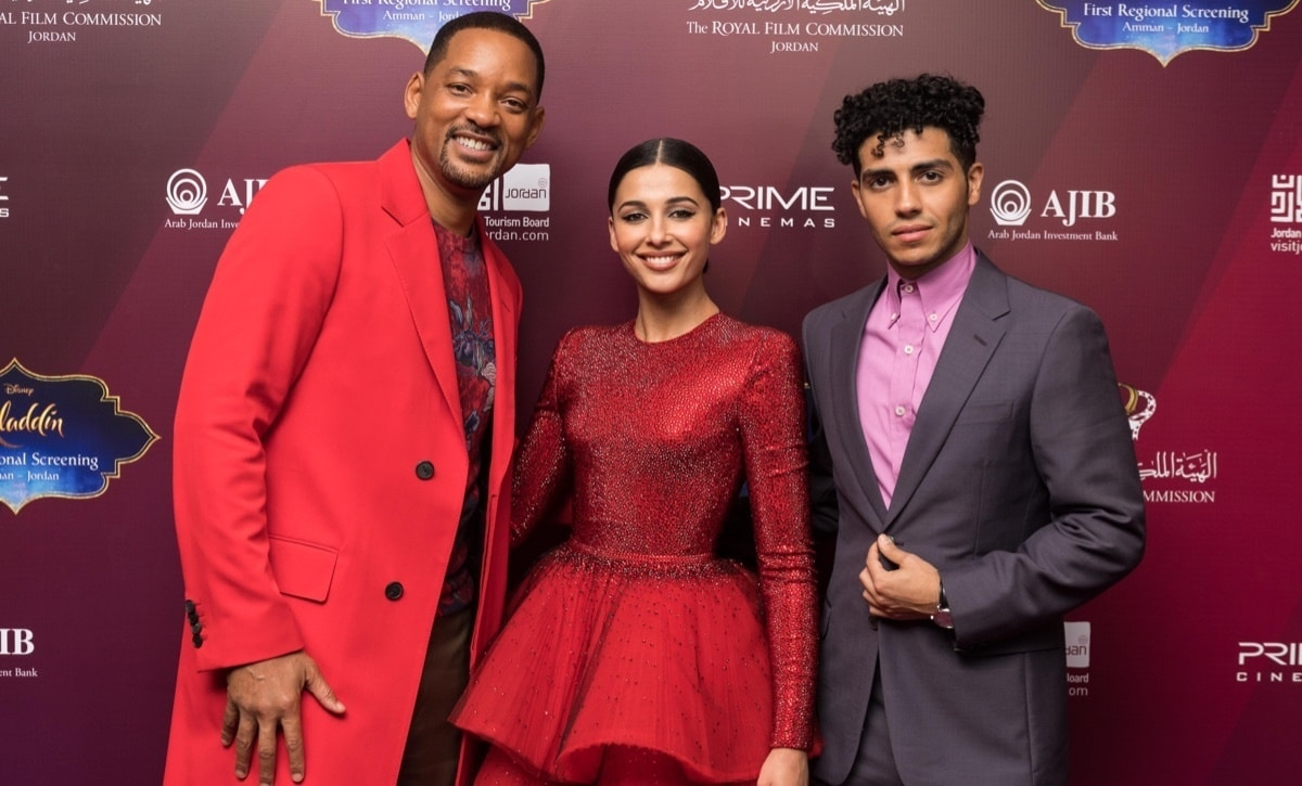 Will Smith, Naomi Scott and Mena Massoud attend a private screening of Aladdin.