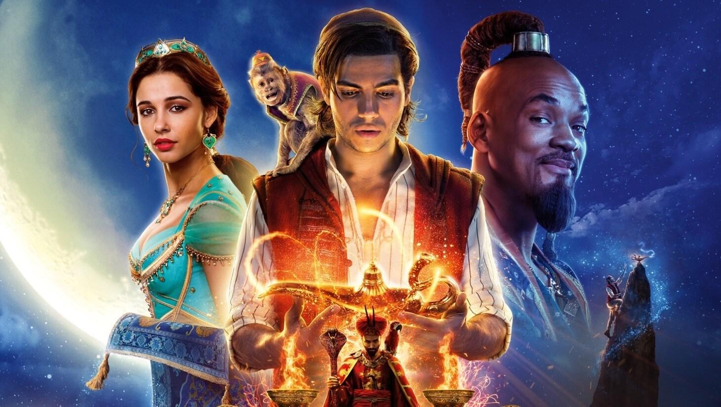 Aladdin, Abu, Jasmine, de Geest, Jafar en Iago voor een sterrenhemel