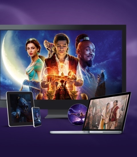 Stills from Aladdin displayed on a TV, laptop and various devices