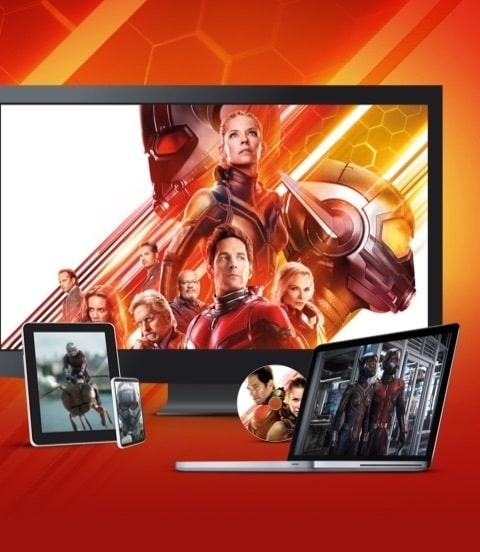 Stills from Ant Man and the Wasp displayed on a TV, laptop, tablet, mobile and disc