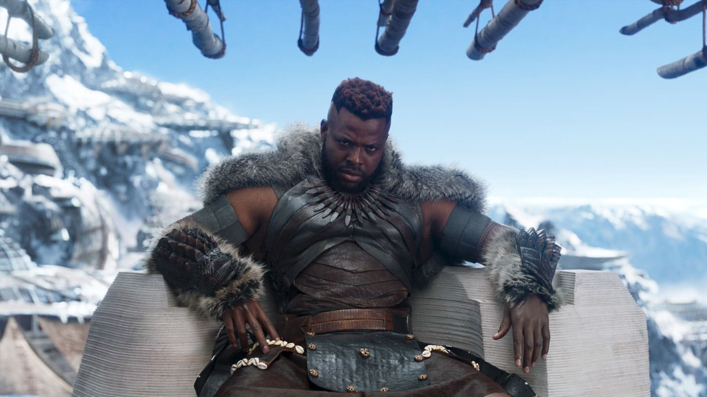 M'Baku (Winston Duke), the leader of the Jabari Tribe, sitting on his throne
