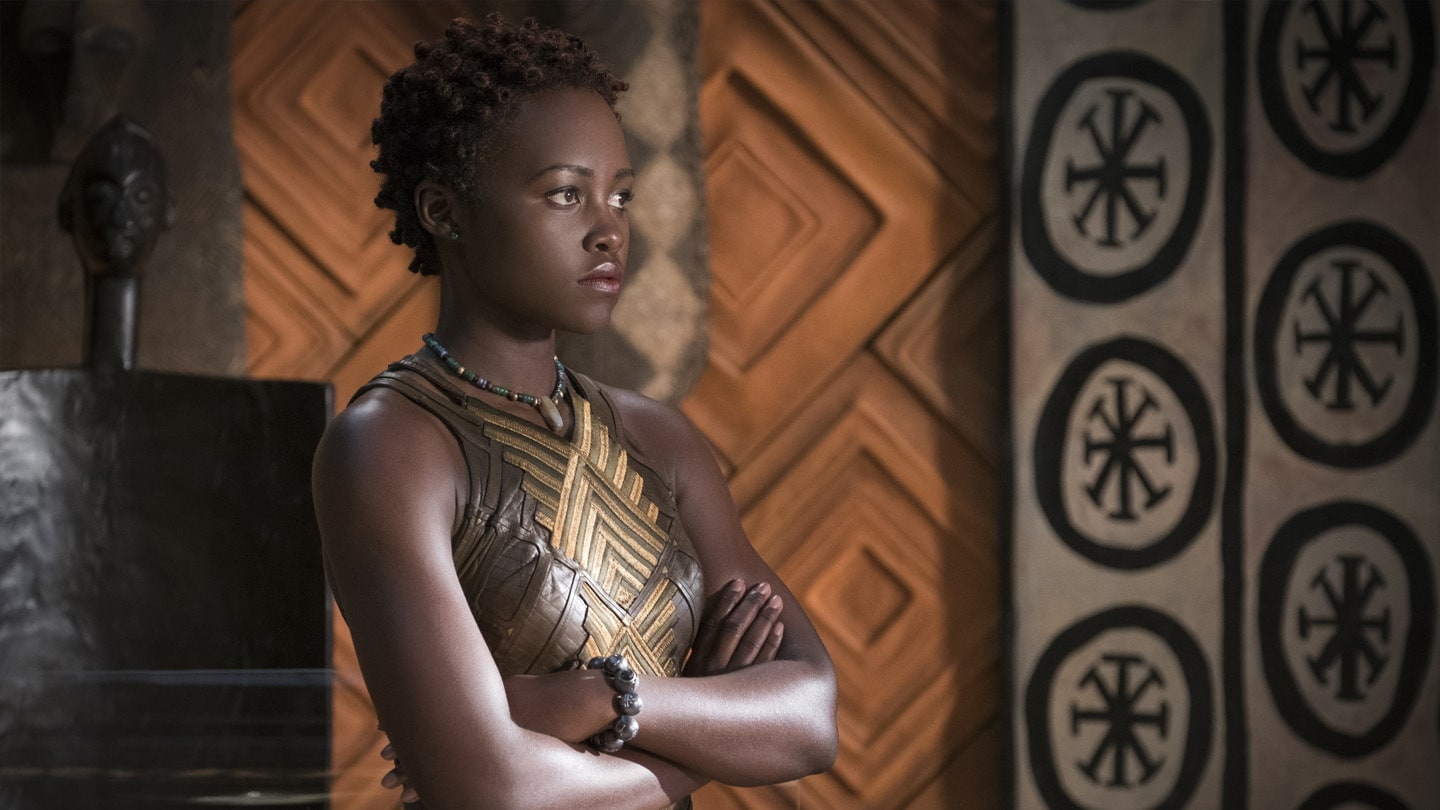 A close-up of Nakia (Lupita Nyong'o) in Black Panther