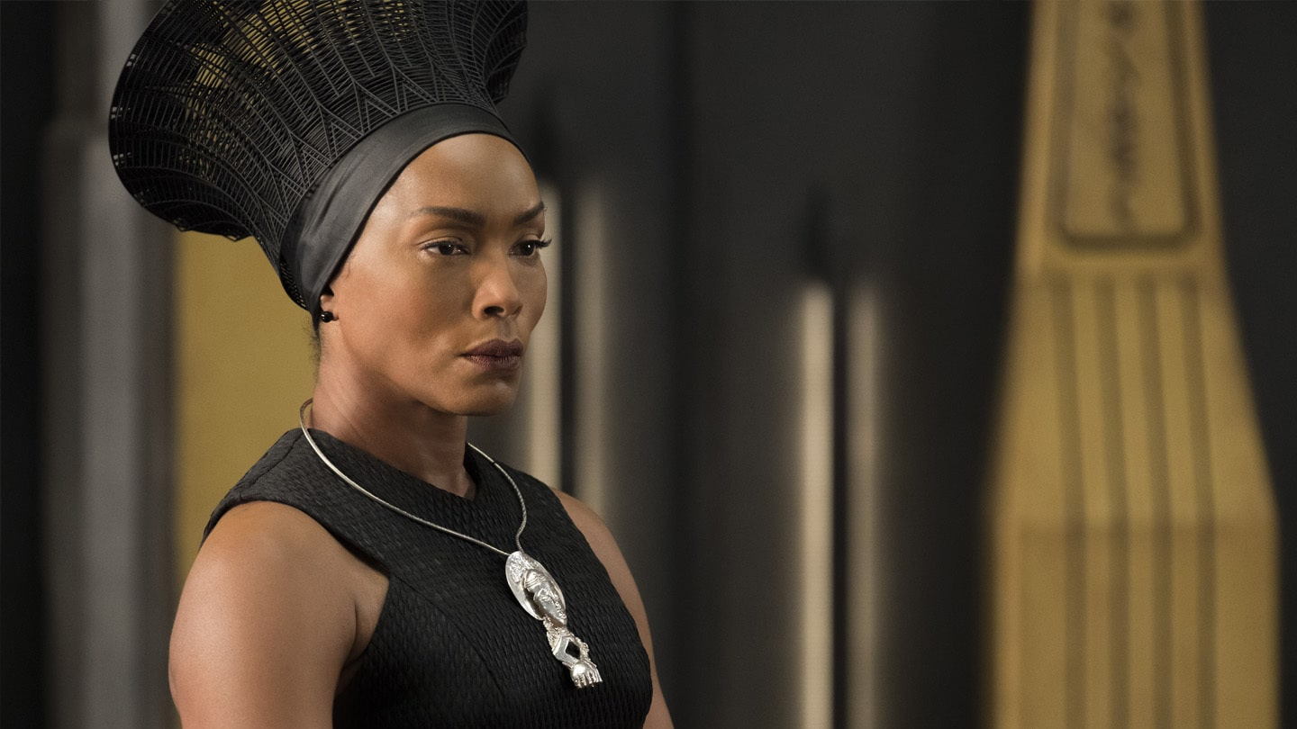 A close-up of Ramonda (Angela Bassett) in Black Panther