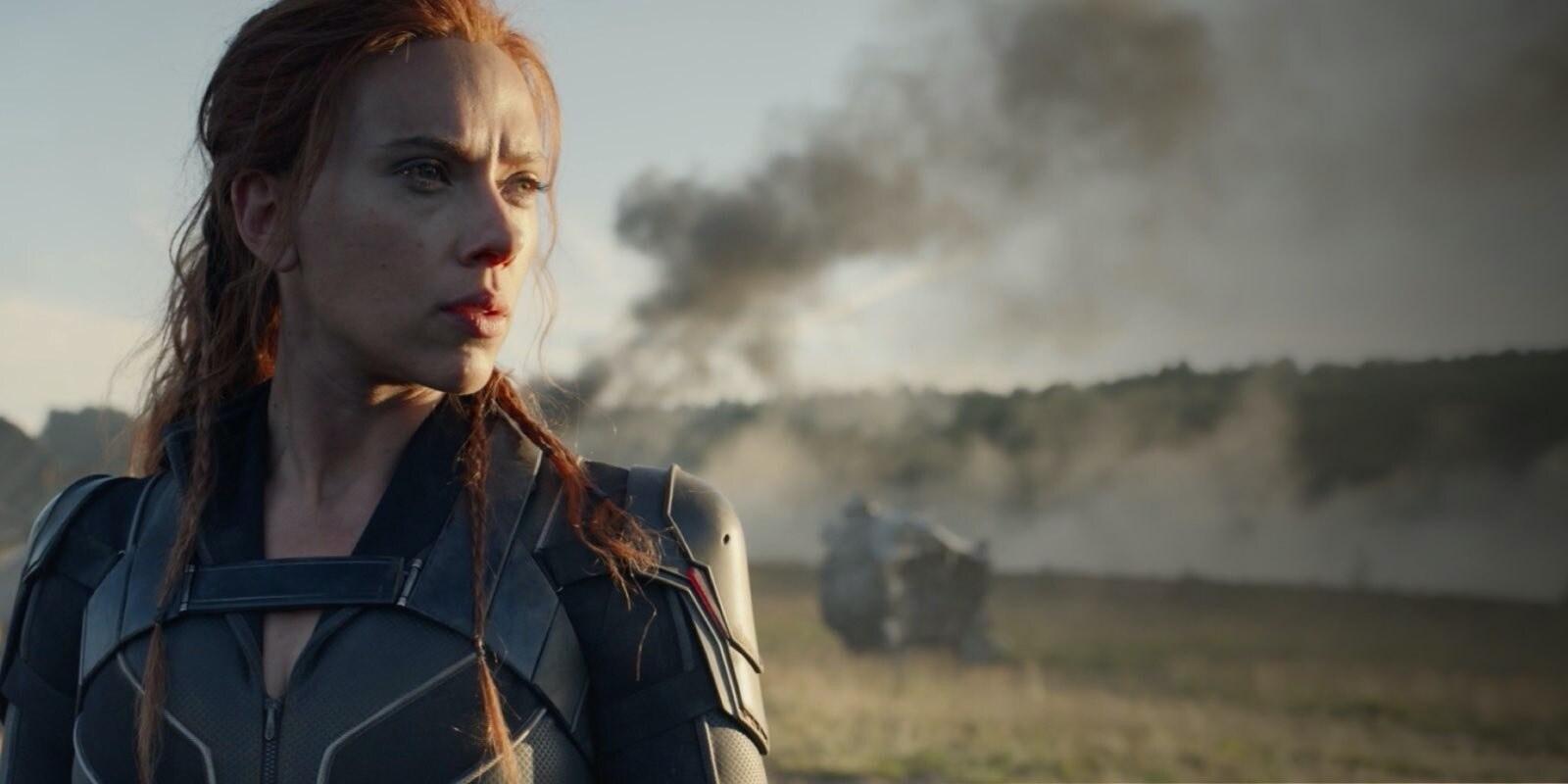 Scarlett Johansson in costume as Black Widow