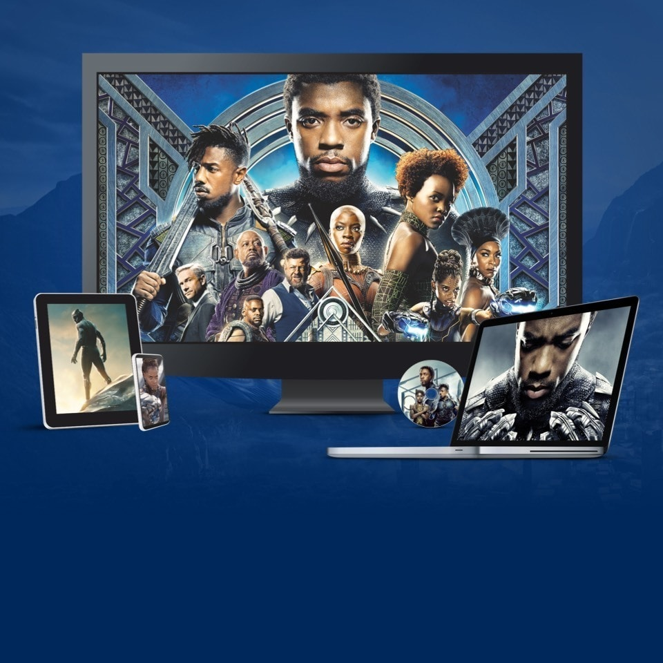 Stills from Black Panther displayed on a TV, laptop and various devices