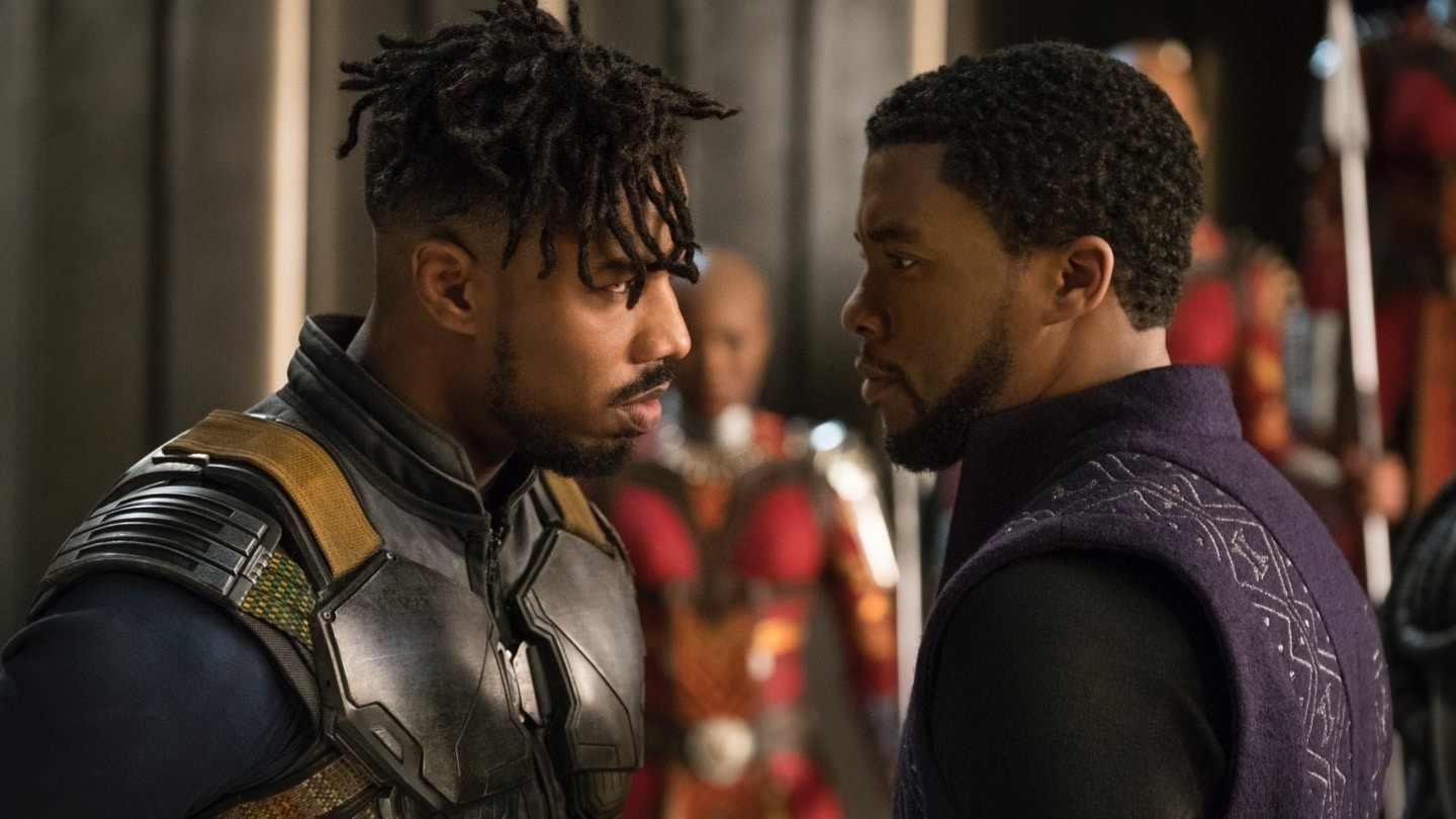 Close-up of Black Panther and Erik Killmonger having a conversation