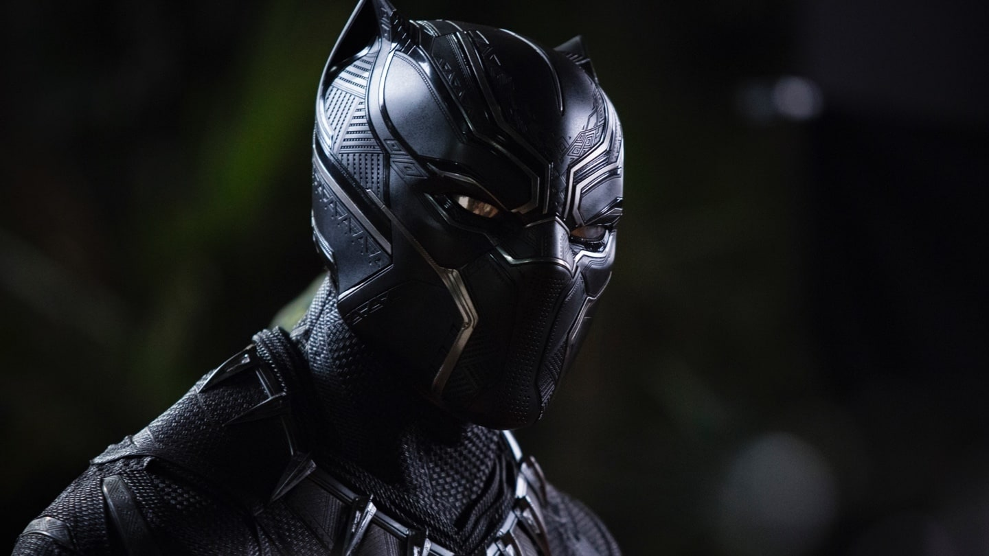 Close-up of Black Panther in his suit