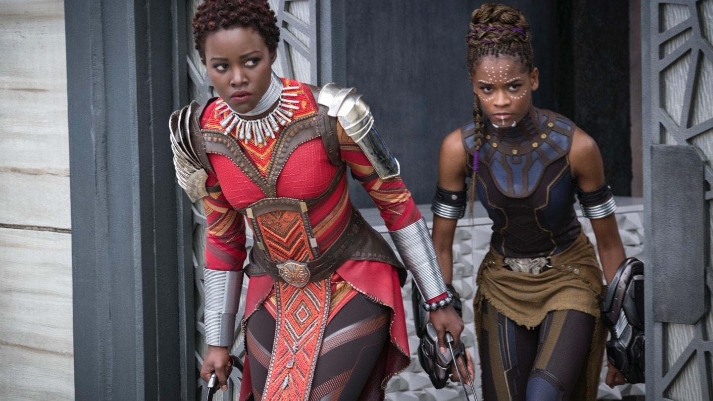 Nakia and Shuri checking if the coast is clear