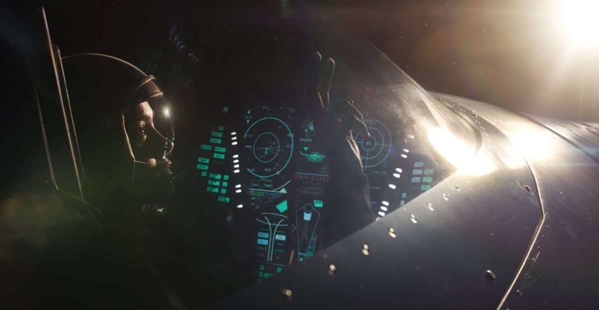 Carol Danvers (played by Brie Larson) in a spaceship looking out