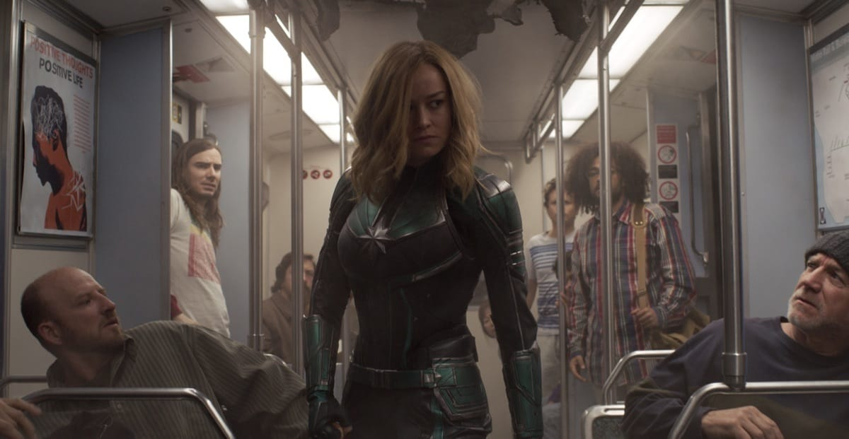 Carol Danvers on the lookout for Skrull on a train