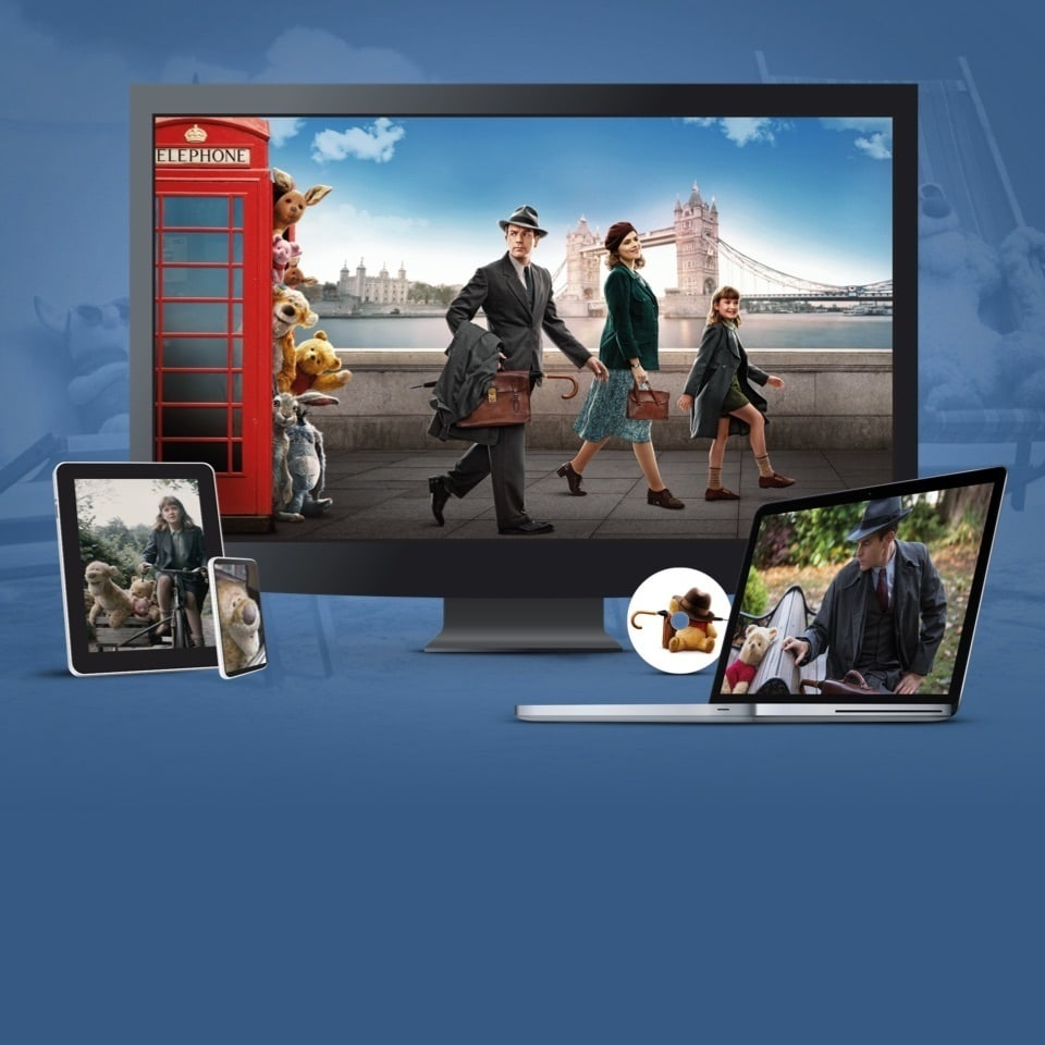 Stills from Christopher Robin displayed on a TV, laptop, tablet, disc and mobile device