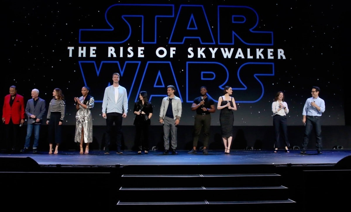 The cast and crew of Star Wars: The Rise of Skywalker at D23 Expo 2019.
