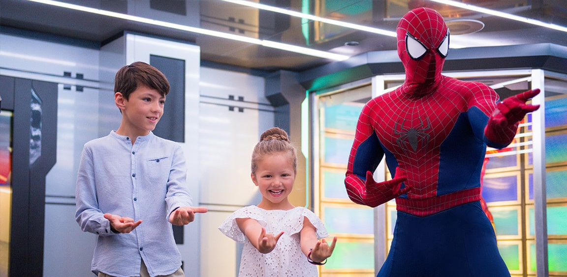 Spider-Man with young guests on-board the Disney Cruise Line