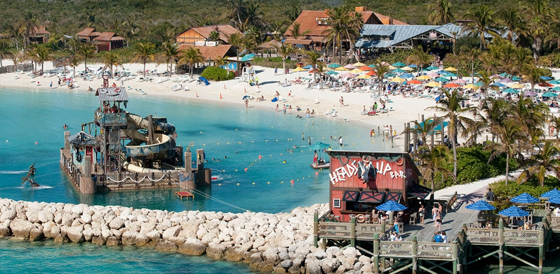 Birdseye view of Disney's luxurious private island in the Bahamas 'Castaway Cay'