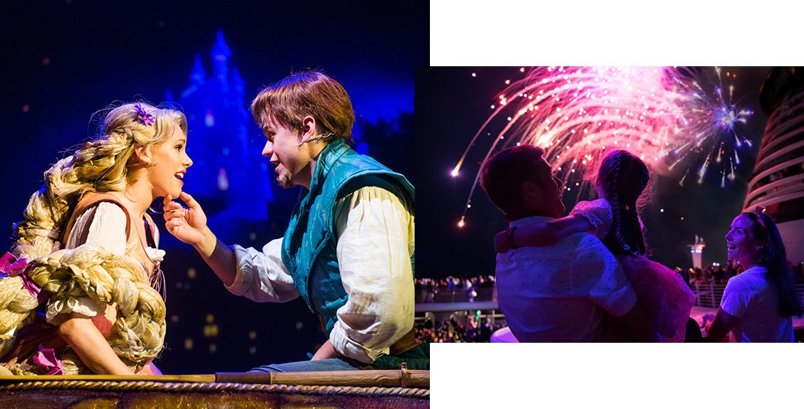 Rapunzel singing in the live show 'Tangled: The Musical' and 'Buccaneer Blast!' pyrotechnic spectacular