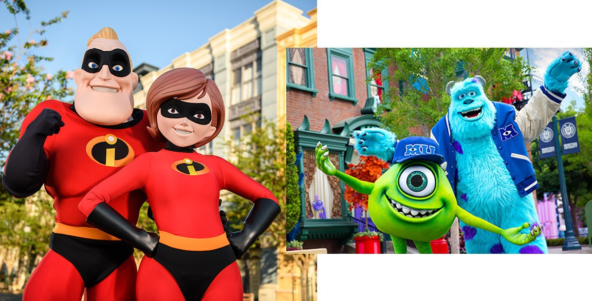 Mr and Mrs Incredible, Mike and Sully ready to meet guest at Disney's Hollywood Studios