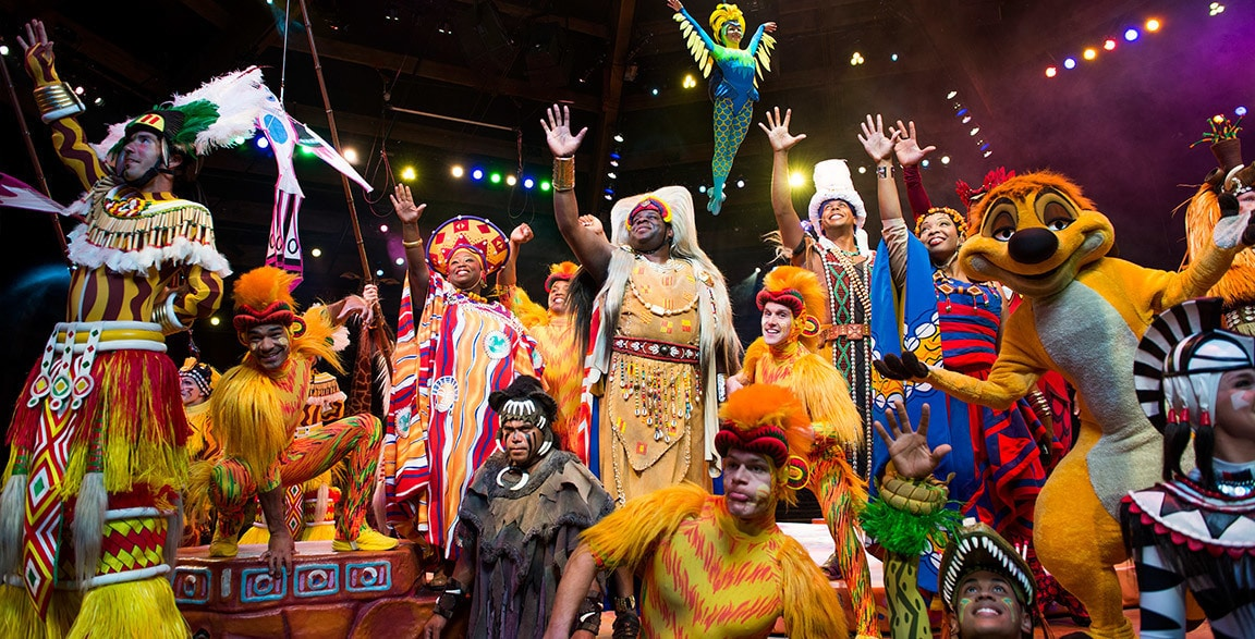 Festival of the Lion King stage show cast at Animal Kingdom