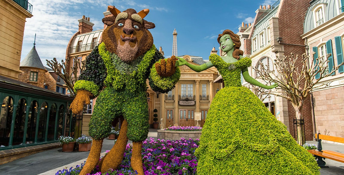 A topiary of Belle and Beast at Epcot International Flower and Garden Festival