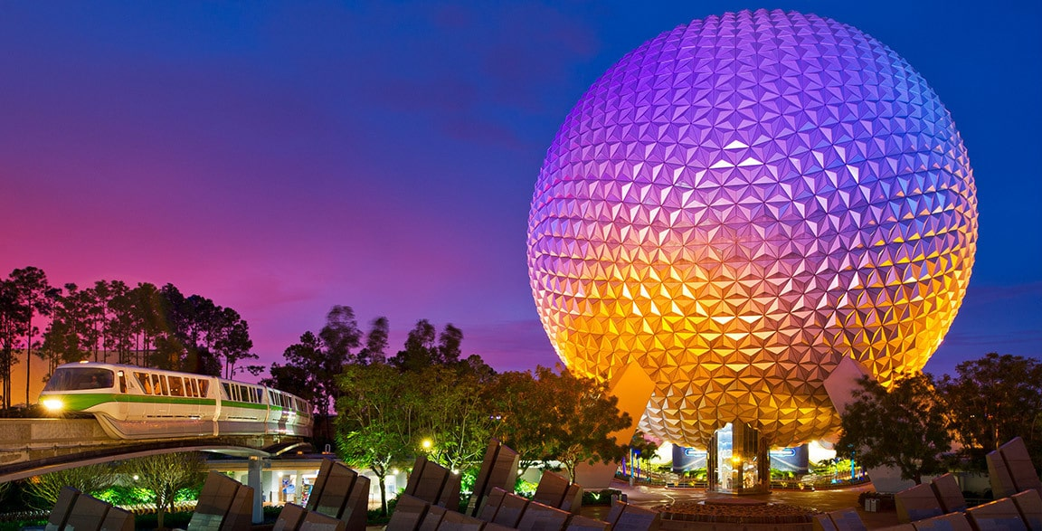 Epcot's Spaceship Earth lit up at night