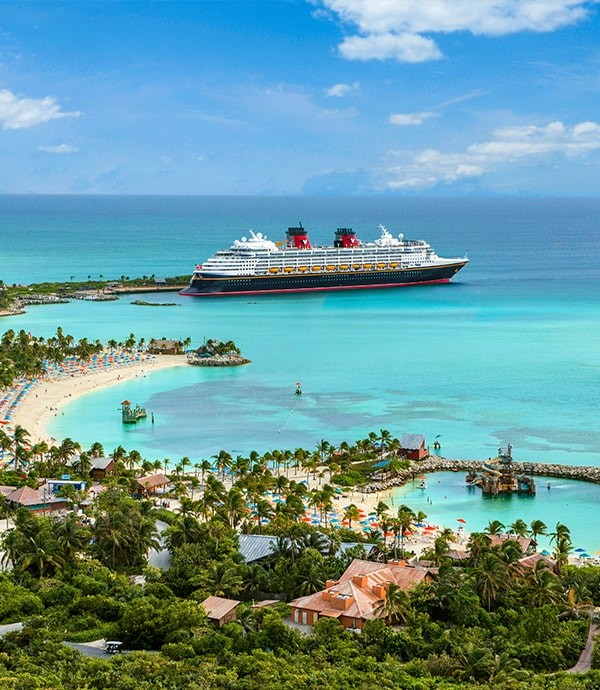 A Disney cruise liner at Cast Away Cay