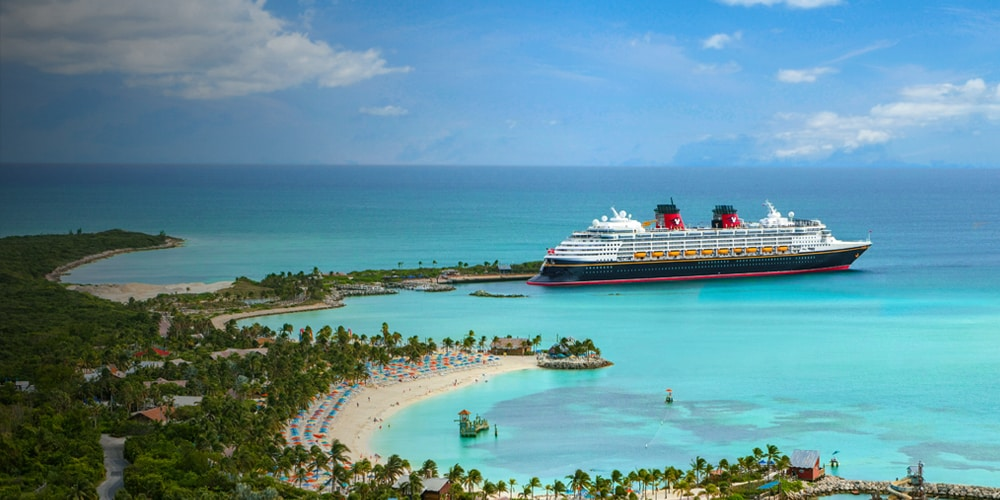 A Disney Cruise Line ship docking at Castaway Cay