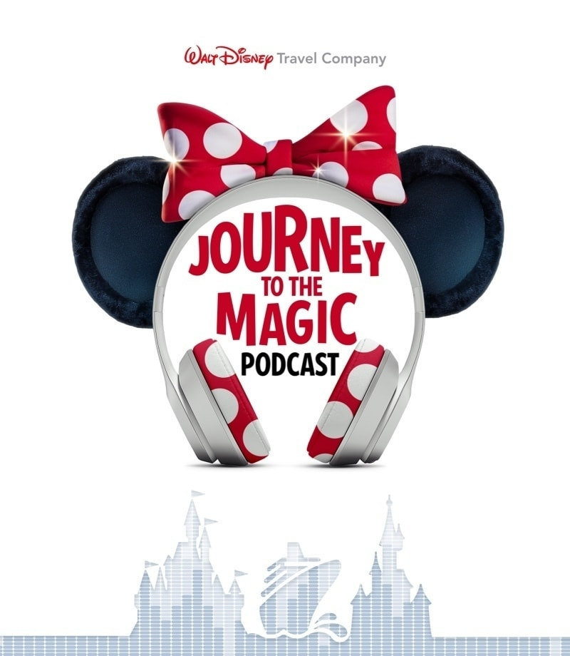 """Headphones with Minney ears and bow surrounding the text """"Journey to the Magic... Podcast"""""""