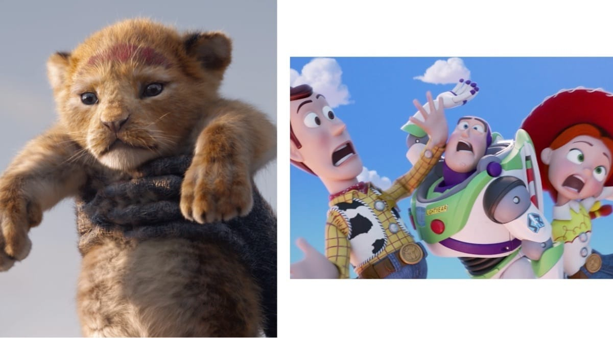 Simba the lion cub raised in the air. Woody, Buzz and Jesse bumping into each other