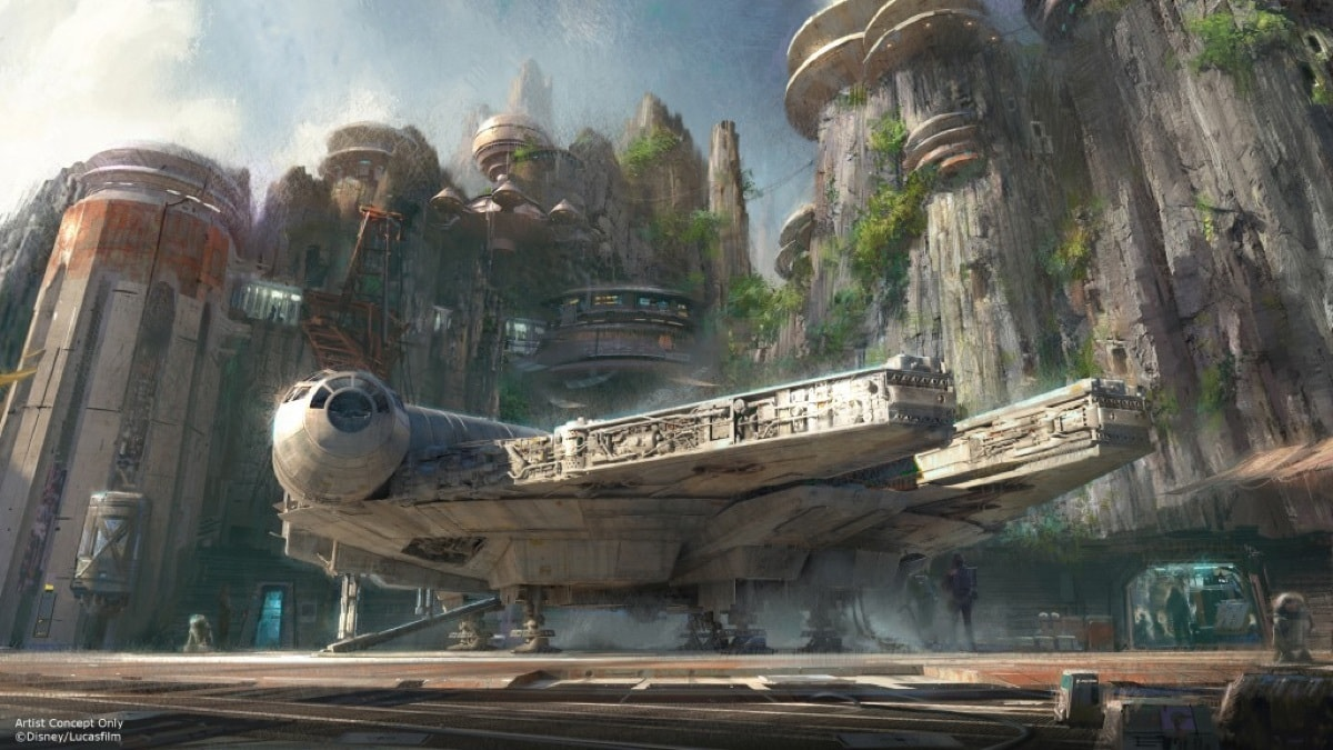 Concept art of Star Wars: Galaxy's Edge in Walt Disney World Resort, Florida.