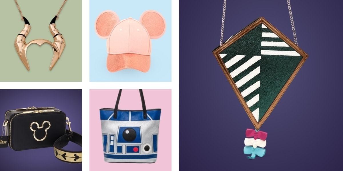 Variety of Disney, Pixar, Star Wars and Marvel jewellery, hats, purses and bags