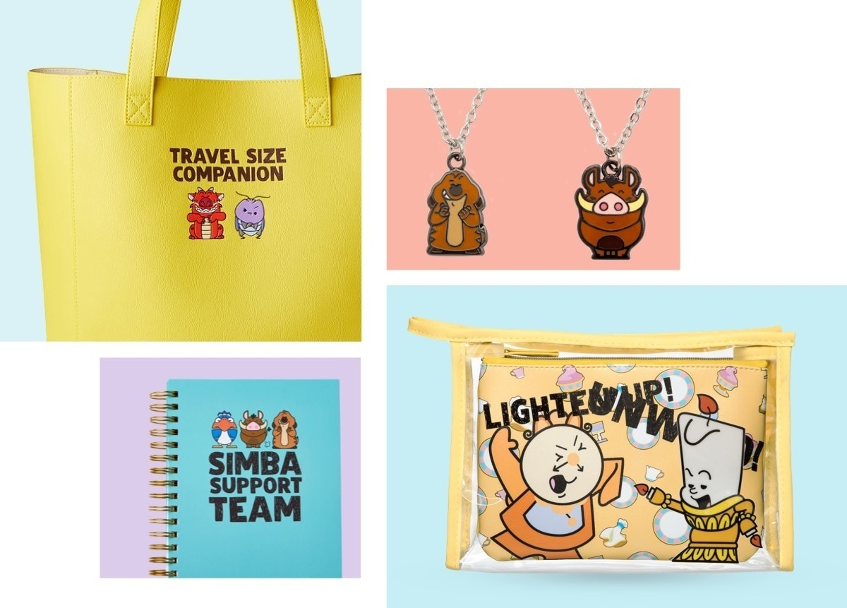 Mushu & Cri-Kee Tote Bag, Timon & Pumba Friendship Necklaces, Timon & Pumba Notebook, Cogsworth & Lumiere Pouches