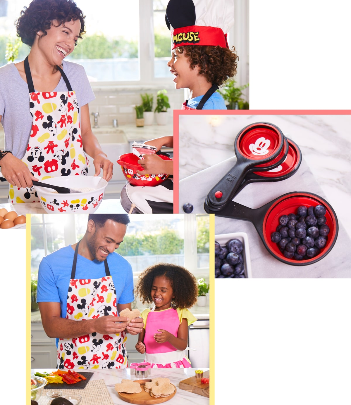 Family in the kitchen cooking with Disney themed cookware