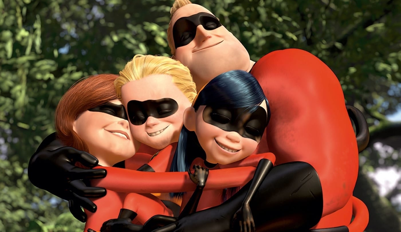 The Incredibles family in a group hug